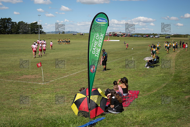 Players run out for the first competition game of the 2018 season. Counties Manukau Premier Counties Power Club Rugby game between Karaka and Pukekohe, played at the Karaka Sports Park on Saturday March 10th 2018. Pukekohe won the game 31 - 27 after trailing 5 - 20 at halftime.<br /> Photo by Richard Spranger.