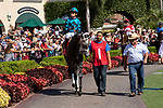 DEL MAR, CA  SEPTEMBER 1: #1 Boujie Girl, ridden by Geovanni Franco, in the paddock before the Del Mar Debutante (Grade 1) on September 1, 2018, at Del Mar Thoroughbred Club in Del Mar, CA.(Photo by Casey Phillips/Eclipse Sportswire/Getty ImagesGetty Images