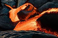 A close-up of molten lava on the coastal plains of Pulama Pali, Hawai'i Volcanoes National Park, Puna district, Hawai'i Island, December 2017.