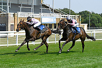 Winner of The AJN Steelstock Henstridge Apprentice Handicap Juanito Chico right ridden by Rhys Clutterbuck and trained by Michael Attwater during Horse Racing at Salisbury Racecourse on 9th August 2020