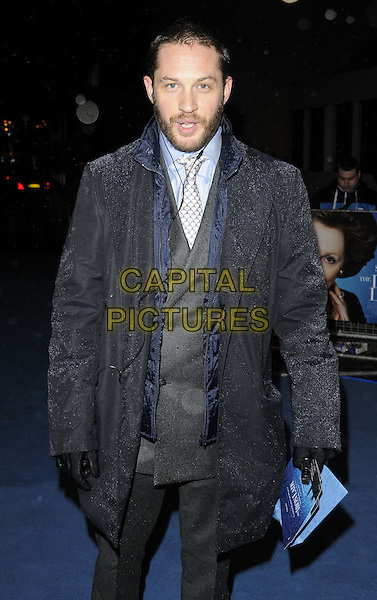 Tom Hardy.'The Iron Lady' European Film Premiere at BFI cinema, Southbank, London, England..4th January 2012.half length black grey gray jacket suit gloves beard facial hair mouth open.CAP/CAN.©Can Nguyen/Capital Pictures.