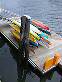 Canoes ready to be used.