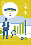 Illustrative image of businessman with magnifying glass and charts representing business forecast and development