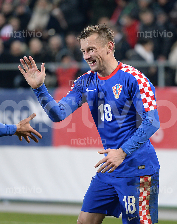 FUSSBALL INTERNATIONALES TESTSPIEL in Sankt Gallen Schweiz - Kroatien       05.03.2014 JUBEL; zweifacher Torschuetze Ivica Olic (Kroatien)
