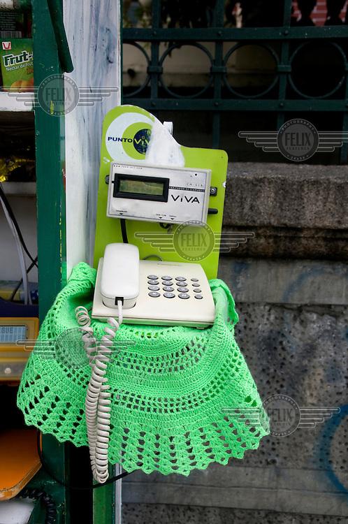 A landline phone for public hire.