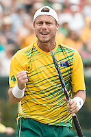 March 5, 2016: Lleyton Hewitt of Australia reacts after winning a point against Mike and Bob Bryan of USA during the doubles match of the BNP Paribas Davis Cup World Group first round tie between Australia and USA at Kooyong tennis club in Melbourne, Australia. Photo Sydney Low