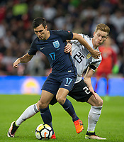 Jack Cork (Burnley) of England battles Marcel Halstenberg (RB Leipzig) of Germany during the International Friendly match between England and Germany at Wembley Stadium, London, England on 10 November 2017. Photo by Andy Rowland.