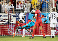 KANSAS CITY, KS - JUNE 26: Jozy Altidore #17 scores the USA'a goal with a bicycle kick during a game between Panama and USMNT at Children's Mercy Park on June 26, 2019 in Kansas City, Kansas.