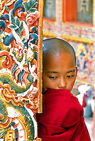 Portrait of timid monk in Buddhist temple, Punkha, Bhutan Few years ago photographers Anthony Asael and Stepahnie Rabemiafara dreamed a dream that seemed quite imposible: to visit every country of the World promoting arts and tolerance among children and, of course, taking photographs of them. With little money and resources but an impressing will, the duo got an astonishing goal. In four years they visited 300 schools in 192 countries where kids participating of the project created 18,000 pieces of artwork. <br />