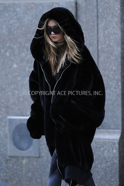 WWW.ACEPIXS.COM<br /> March 17, 2016 New York City<br /> <br /> Gigi Hadid was seen on Fifth Avenue in New York City on March 17, 2016<br /> <br /> Credit: Kristin Callahan/ACE Pictures<br /> <br /> tel: 646 769 0430<br /> Email: info@acepixs.com<br /> www.acepixs.com