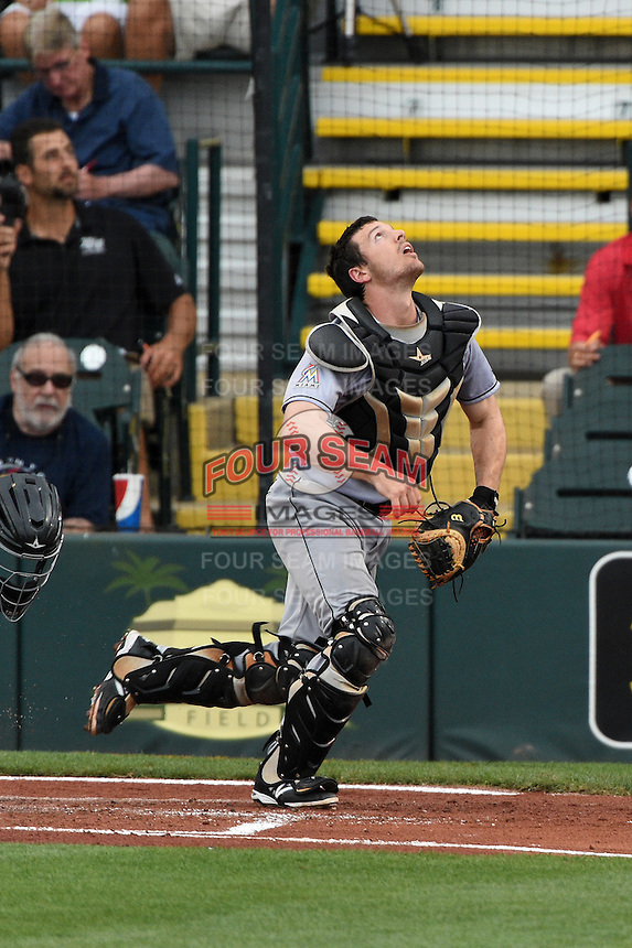Jupiter Hammerheads catcher Chadd Krist (6) tracks a foul pop up during a game against the Bradenton Marauders on April 17, 2015 at McKechnie Field in Bradenton, Florida.  Bradenton defeated Jupiter 11-6.  (Mike Janes/Four Seam Images)