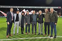 KV KORTRIJK - CERCLE BRUGGE :<br /> Beelden voor de wedstrijd en aan de aftrap met sponsors en Delfine Persoon (3e van rechts) en Jules Verriest (4e van links)<br /> <br /> Foto VDB / Bart Vandenbroucke