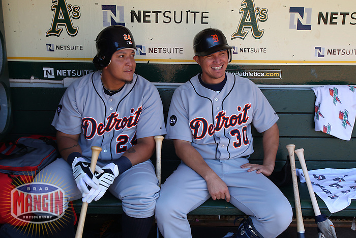 OAKLAND, CA - MAY 20:  Miguel Cabrera and Magglio Ordonez of the Detroit Tigers get ready in the dugout before the game against the Oakland Athletics at the Oakland-Alameda County Coliseum on May 20, 2010 in Oakland, California. Photo by Brad Mangin