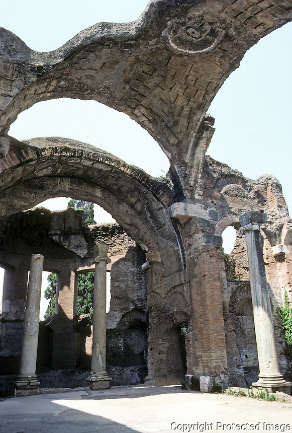 Italy: Tivoli--Hadrian's Villa. Large baths--view towards Frigidarium. Photo '83.