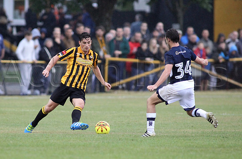 11th July 2017, Fullicks Stadium, Folkestone, England; Football Pre Season Friendly; Folkestone Invicta FC versus Millway XI; Sam Hasler (Folk) takes on Harry Donovan during the first half