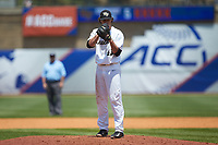 Wake Forest Demon Deacons relief pitcher Griffin Roberts (43) looks to his catcher for the sign against the Miami Hurricanes in Game Nine of the 2017 ACC Baseball Championship at Louisville Slugger Field on May 26, 2017 in Louisville, Kentucky. The Hurricanes defeated the Demon Deacons 5-2. (Brian Westerholt/Four Seam Images)