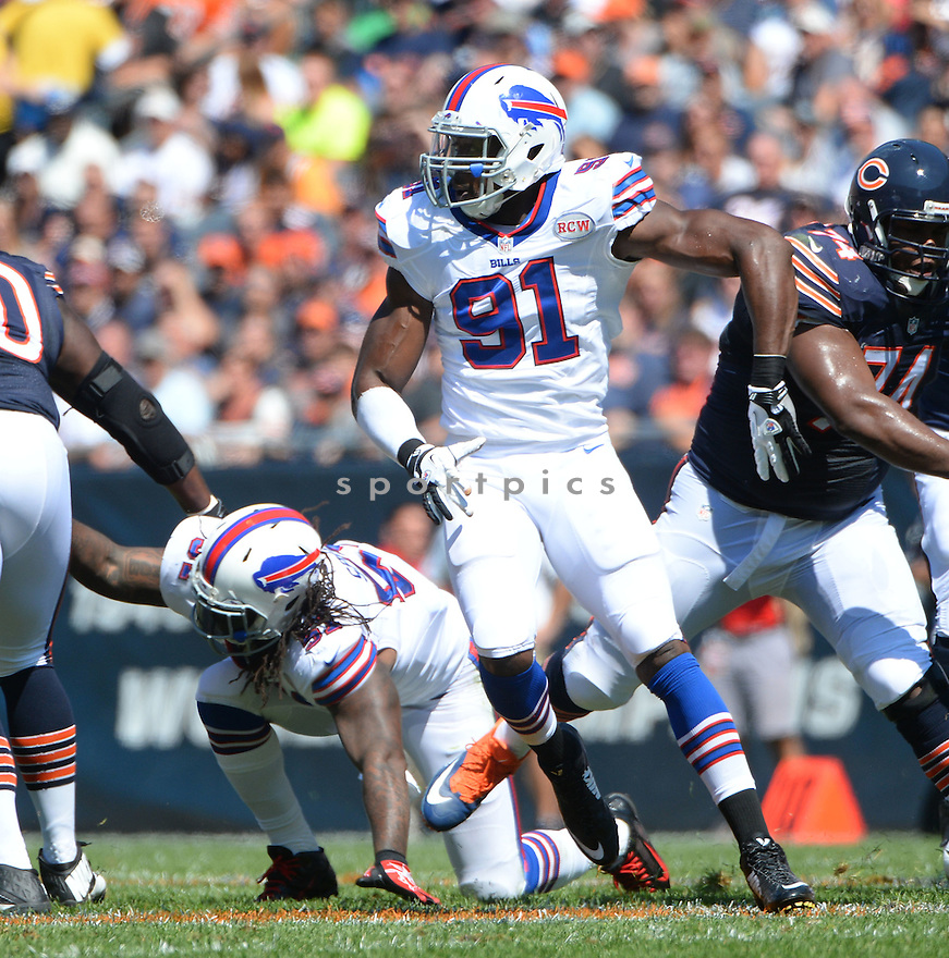 Buffalo Bills Manny Lawson (91) during a game against the Chicago Bears on September 7, 2014 at Soldier Field in Chicago, IL. The Bills beat the Bears 23-20.