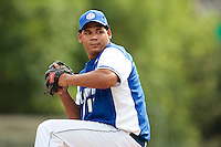 13 July 2010: Gabriel Connor of Team Saint Martin pitches against Team France during day 1 of the Open de Rouen, an international tournament with Team France, Team Saint Martin, Team All Star Elite, at Stade Pierre Rolland, in Rouen, France.