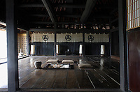 The main living area or 'Ima' has floor cushions surrounding the open fire-pit while the more formal living space or 'Zashiki' is situated at the far end of the room