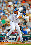 12 March 2008: Los Angeles Dodgers' infielder James Loney at bat during a Spring Training game against the Washington Nationals at Holman Stadium, in Vero Beach, Florida. The Nationals defeated the Dodgers 10-4 at the historic Dodgertown ballpark. 2008 marks the final season of Spring Training at Dodgertown for the Dodgers, as the team will move to new training facilities in Arizona starting in 2009 after 60 years in Florida...Mandatory Photo Credit: Ed Wolfstein Photo
