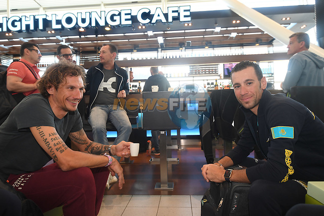 Filippo Pozzato (ITA) Wilier Triestina-Southeast and Vincenzo Nibali (ITA) Astana pictured in Schipol Airport on his way from Amsterdam to the airport at Lamezia Terme in the far south of Italy, and then Catanzaro, the start town for Stage 4 tomorrow, The Netherlands. 9th May 2016.<br /> Picture: ANSA/Claudio Peri | Newsfile<br /> <br /> <br /> All photos usage must carry mandatory copyright credit (&copy; Newsfile | ANSA/Claudio Peri)