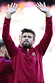 18th March 2018, Camp Nou, Barcelona, Spain; La Liga football, Barcelona versus Athletic Bilbao; Gerard Pique of FC Barcelona salutes the fans in the Camp Nou stadium