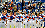 WATERBURY, CT-0712917JS13-- Wolcott players stand for the National Anthem prior to their Mickey Mantle World Series game with Toronto Saturday at Municipal Stadium in Waterbury. <br /> Jim Shannon Republican-American