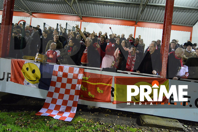 Whitehawk supporters during the FA Cup 1st round replay match between Stourbridge and Whitehawk  at the War Memorial Athletic Ground, Stourbridge, England on 14 November 2016. Photo by Garry Griffiths.
