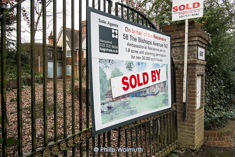 Sold on behalf of receivers. One of a large number of empty mansions in The Bishops Avenue in north London.  Many houses in the street, also known as Billionaire's Row, have been left vacant by their mostly overseas owners.