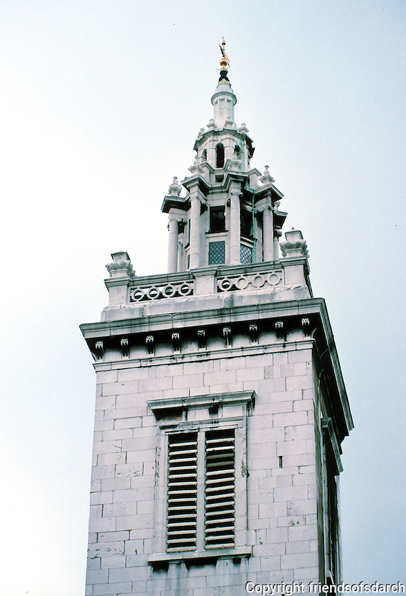 "Sir Christopher Wren: St. Michael Paternoster Royal, 1686-94; 1713. The spire and the three-stage octagonal lantern below are considered ""particularly fine""---and so they are! Photo '05."