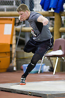 """Barlow Oregon high school senior, Ryan Crowser throws the 16 pound shot 63' 11"""" for a new United States HS record in the Jackson's Invitational at the Jackson's Indoor facilitiy in Nampa, Idaho."""