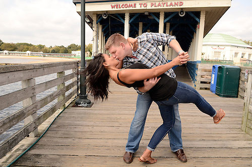 Engagement Portraits at Rye Playland before wedding day at Fairview Country Club in Greenwich.