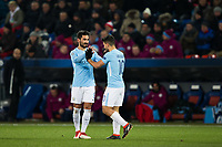 Manchester City's Ilkay Gundogan celebrates scoring his side's fourth goal with Sergio Aguero <br /> <br /> Photographer Craig Mercer/CameraSport<br /> <br /> UEFA Champions League Round of 16 First Leg - Basel v Manchester City - Tuesday 13th February 2018 - St Jakob-Park - Basel<br />  <br /> World Copyright &copy; 2018 CameraSport. All rights reserved. 43 Linden Ave. Countesthorpe. Leicester. England. LE8 5PG - Tel: +44 (0) 116 277 4147 - admin@camerasport.com - www.camerasport.com