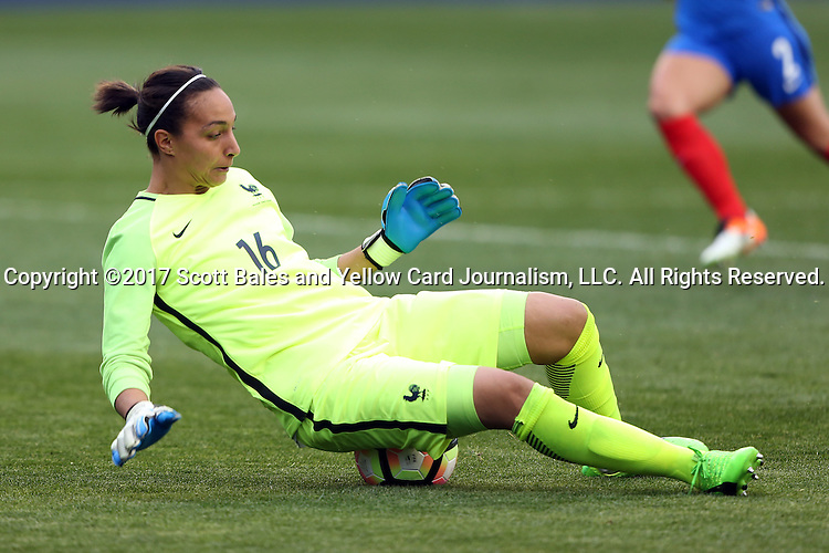 CHESTER, PA - MARCH 01: Sarah Bouhaddi (FRA) makes a save. The England Women's National Team played the France Women's National Team as part of the She Believes Cup on March, 1, 2017, at Talen Engery Stadium in Chester, PA. The France won the game 2-1.