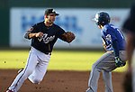 Reno Aces' Danny Dorn tags out Las Vegas 51s' runner Wilfredo Tovar in Reno, Nev., on Sunday, July 26, 2015.<br /> Photo by Cathleen Allison