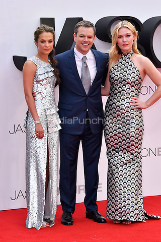 Alicia Vikander, Matt Damon, Julia Stiles at Jason Bourne UK film premiere,the fifth instalment in the Bourne franchise, at Odeon Leicester Square, London, England 11 July 2016.<br /> CAP/JOR<br /> &copy;JOR/Capital Pictures /MediaPunch ***NORTH AND SOUTH AMERICAS ONLY***