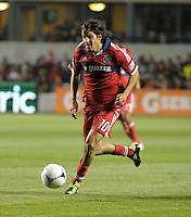 Chicago Fire midfielder Sebastian Grazzini (10) speeds toward the Philadelphia goal.  The Chicago Fire defeated the Philadelphia Union 1-0 at Toyota Park in Bridgeview, IL on March 24, 2012.