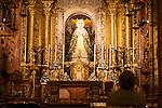 Nuestra Señora de la Esperanza statue, Basilica de la Macarena, historic church, city centre of Seville, Spain