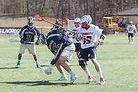 Liberty's Men's Lacrosse team plays George Washington University at the Lacrosse fields on April 5, 2014 (Photo by Lizzy Benson).