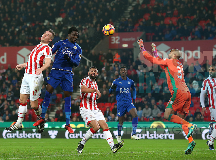 Daniel Amartey of Leicester City rises up to score the equalising goal during the English Premier League match at the Bet 365 Stadium, Stoke on Trent. Picture date: December 17th, 2016. Pic Simon Bellis/Sportimage