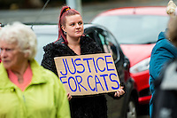 Friday  02 September 2016<br /> Pictured: Protesters outside Swansea Crown Court<br /> Re: Two Teenagers have appeared in court following an alleged burglary at a Port Talbot cat sanctuary. <br /> Frank Lyn Lewis, aged 18, is accused of breaking into the Ty Nant Cat Sanctuary in Cymmer and stealing 10 cats, and of causing the unnecessary suffering of two cats by stabbing one, and shooting and stabbing the other<br /> A 15-year-old male - who cannot be named for legal reasons - is due to appeared in court.