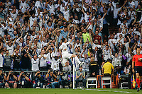 Real Madrid´s Welsh forward Gareth Bale celebrating after scoring during the UEFA Champions League match between Real Madrid and Manchester City at the Santiago Bernabeu Stadium in Madrid, Wednesday, May 4, 2016.