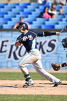 Myrtle Beach Pelicans catcher Jorge Alfaro (24) at bat during a game against the Wilmington Blue Rocks on April 27, 2014 at Frawley Stadium in Wilmington, Delaware.  Myrtle Beach defeated Wilmington 5-2.  (Mike Janes/Four Seam Images)