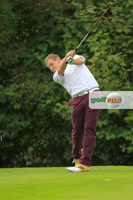 Declan Reidy (Co. Sligo) on the 16th tee during for the AIG Cups &amp; Shields Finals in Royal Tara Golf Club on Thursday 19th September 2013.<br /> Picture:  Thos Caffrey / www.golffile.ie