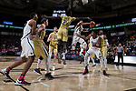 Mitchell Wilbekin (10) of the Wake Forest Demon Deacons drives to the basket past Abdoulaye Gueye (34) of the Georgia Tech Yellow Jackets during second half action at the LJVM Coliseum on February 14, 2018 in Winston-Salem, North Carolina.  The Demon Deacons defeated the Yellow Jackets 79-62.  (Brian Westerholt/Sports On Film)