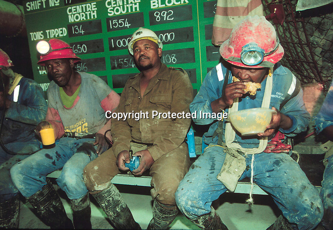 IDMININ14125.Industry Mining. Kimberly; Wesselton diamond mine; workers in the lunch room. .©Per-Anders Pettersson/iAfrika Photos