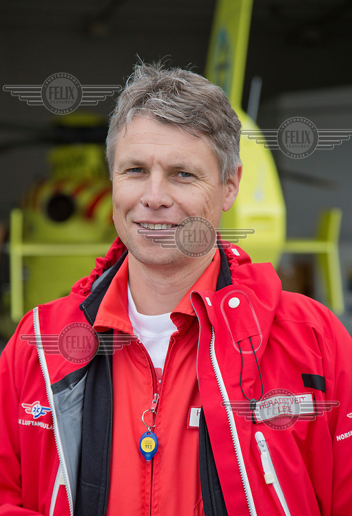 Doctor B&aring;rd Einar Heradstveit. Crew from Norwegian Air Ambulance fly a training mission in the Bergen area. <br /> <br /> &copy;Fredrik Naumann/Felix Features