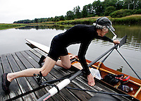 73-yr-old Laurette Rindlaub rowing on the Squamscott River, Exeter, NH