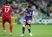 November 4th 2017, nib Stadium, Perth, Australia; A-League football, Perth Glory versus Adelaide United; Xavi Torres of the Perth Glory controls the ball in front of Adelaids Nikola Mileusnic
