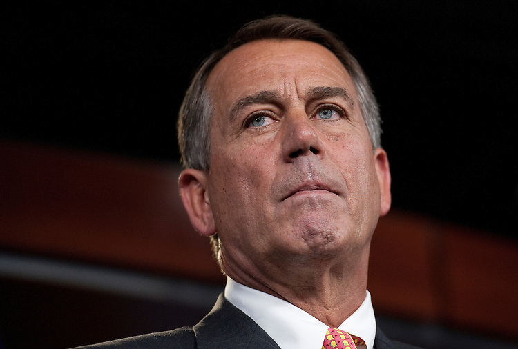 UNITED STATES - JUNE 23: Speaker of the House John Boehner, R-Ohio, holds his weekly on camera news conference on Thursday, June 23, 2011. (Photo By Bill Clark/Roll Call)